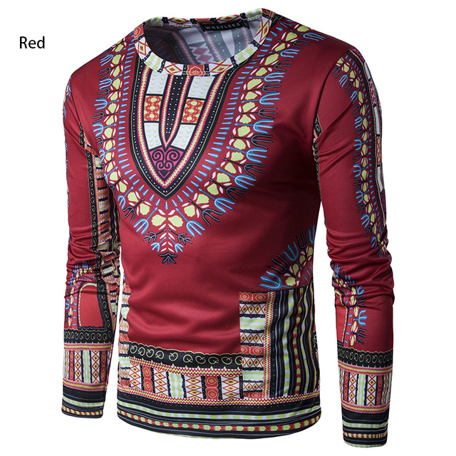 018fde6ff51 National Style Africa Mens T Shirts 3D Print Folk Unique Pattern Design  Causal Tops Long Sleeves Slim Fit Men T Shirts Homme