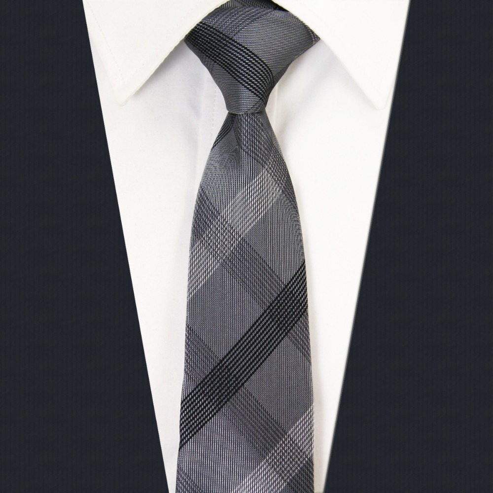 SZ1 Checked Black Dark Gray Plaids Mens Skinny Necktie 100% Silk Jacquard Woven Fashion Slim Necktie