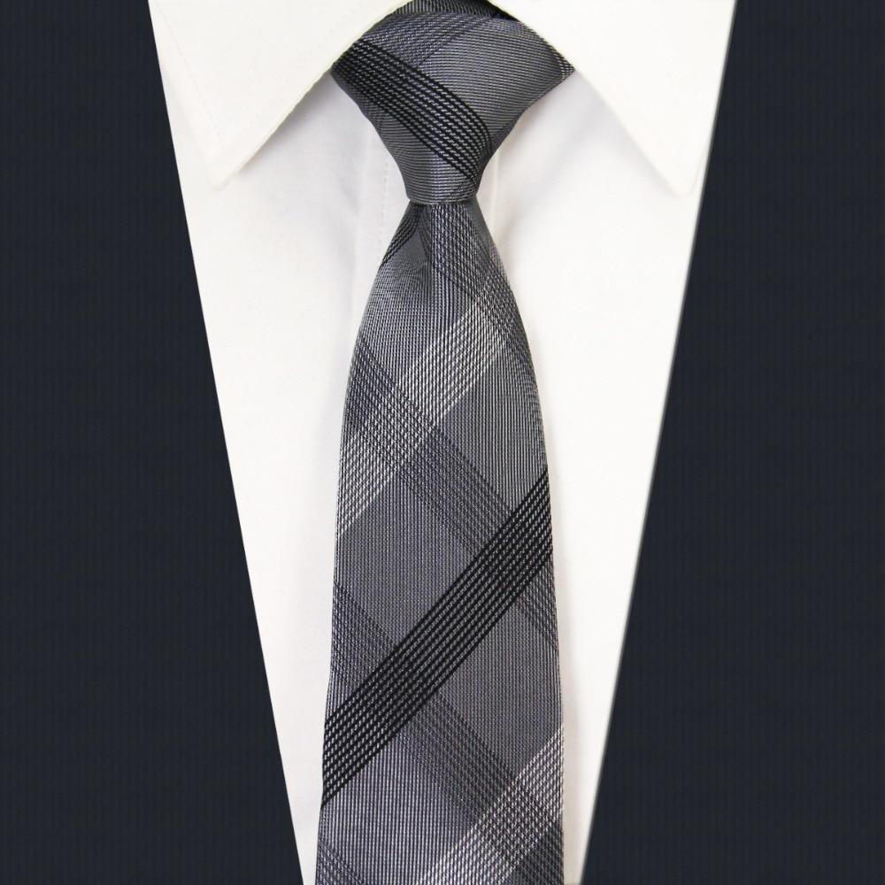 SZ1 Checked Black Dark Gray Plaids Mens Skinny Necktie 100% Silk Jacquard Woven Fashion Slim Necktie