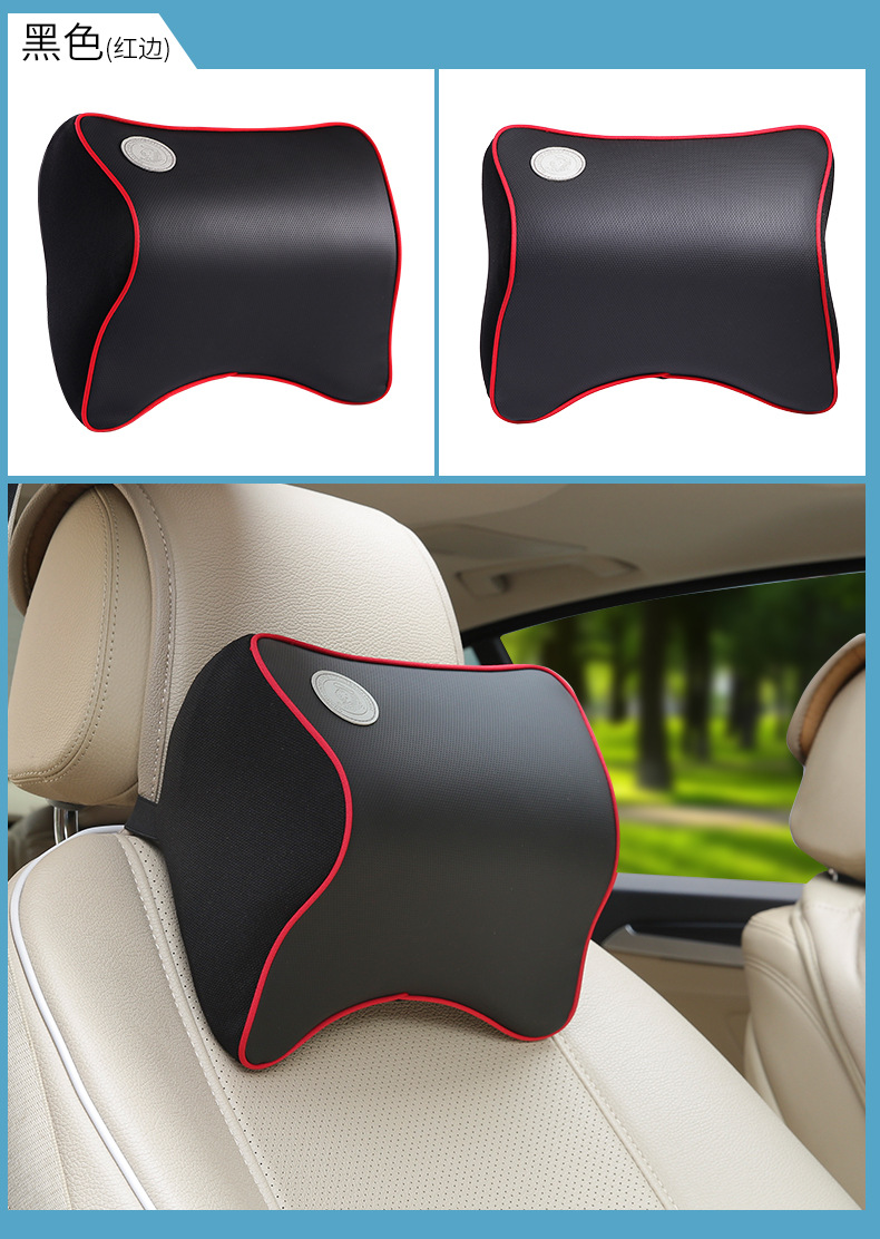 Headrest Memory Foam Leather Neck <font><b>Pillows</b></font> Car Covers Vehicular Plaid Car Seat Cover Auto Neck Free Shipping By Registered Parcel