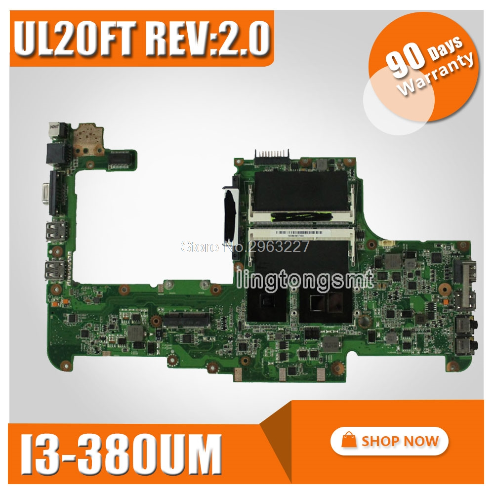 Original for ASUS UL20FT REV 2 0 HM55 CPU I3 380UM Mainboard UL20FT Laptop Motherboard I3