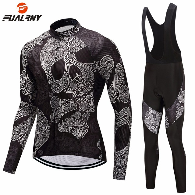 FUALRNY Black Men's Long Sleeve Cycling Set with Skull Pattern Bike Jersey Bib Pants Sets Mtb Bicycle Clothing Suits 9D Gel Pad