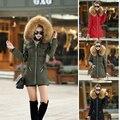 1 Шт. х Дамы Пальто с Меховой Капюшон Куртка Молния Пальто Нескольких Цветов Мода Теплый Повседневная Стильный Длинные