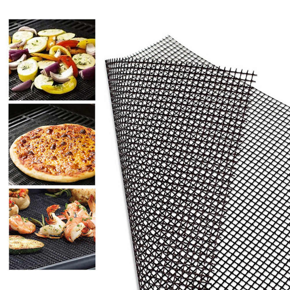 5Pcs Non-Stick Barbecue Grilling Mats 40*33cm BBQ Mat With Heat Resistance  Baking Sheet Meshes For Outdoor Cooking Barbecue