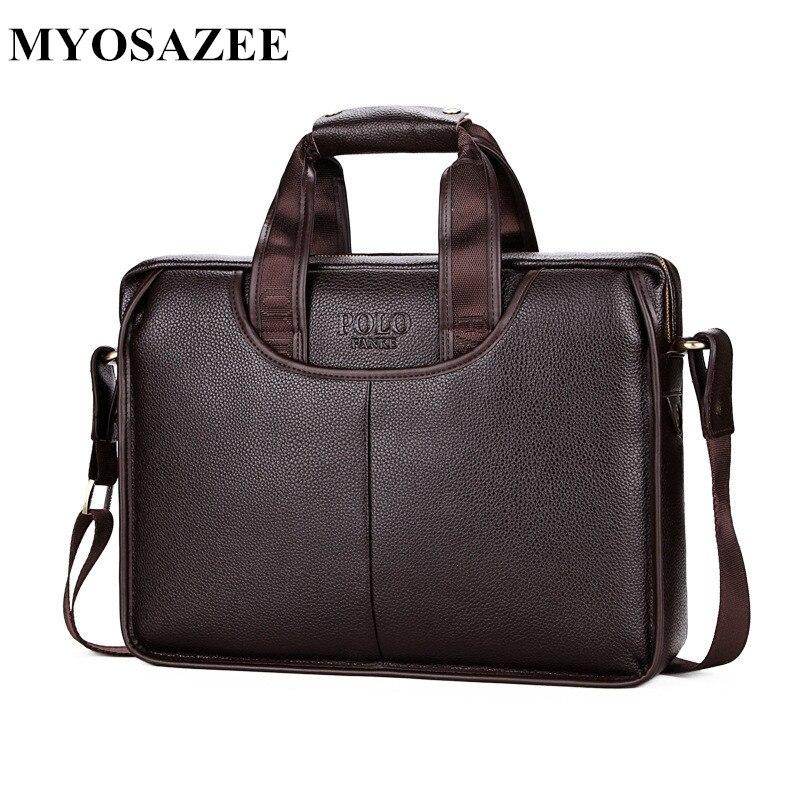 MYOSAZEE Men's Briefcases PU Leather Men Crossbody Bags Business Male Messenger Shoulder Bags Travel Maleta