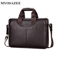MYOSAZEE Men's Briefcases PU Leather Men Crossbody Bags Business Male Messenger Shoulder Bags Travel Maleta