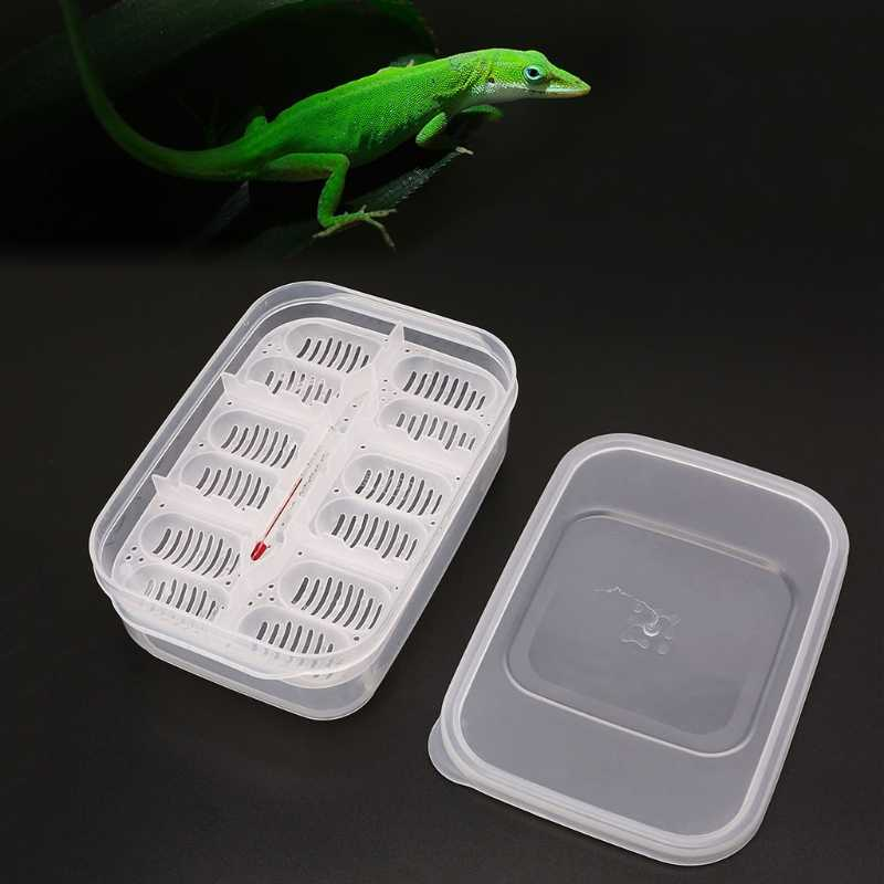 Plastic Reptiles Eggs Incubator Tray Eggs Hatcher Box Lizard Gecko Snake Case Amphibians Breeding Tools Supplies 12 Grids