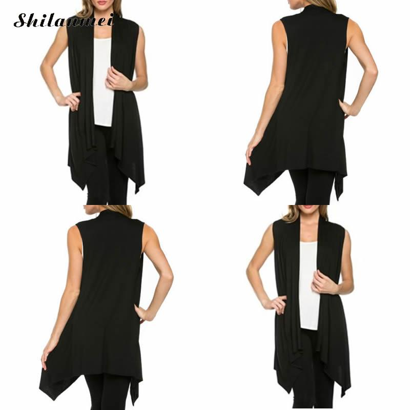 Women Fashion elegant office lady long front short back coat sleeveless vests jacket feminino outwear casual Coat colete