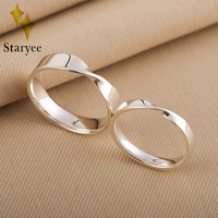 Real 18k Solid White Gold Lover Couple Anniversary Romantic Propose Engaged Wedding Mobius Rings For Women Men Gift Fine Jewelry