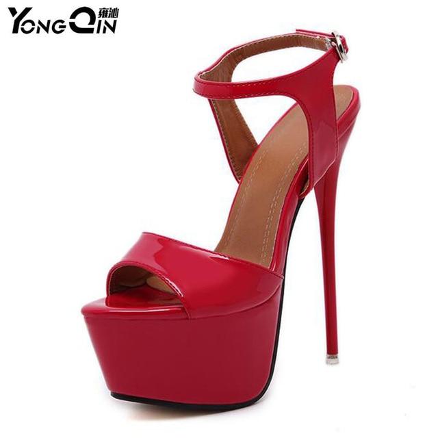 ed644270447fb Plus Size 34-46 Summer Fashion Women Sandals Sexy High Heels 16CM Pumps  Platform Luxury Red Party Wedding Shoes Woman