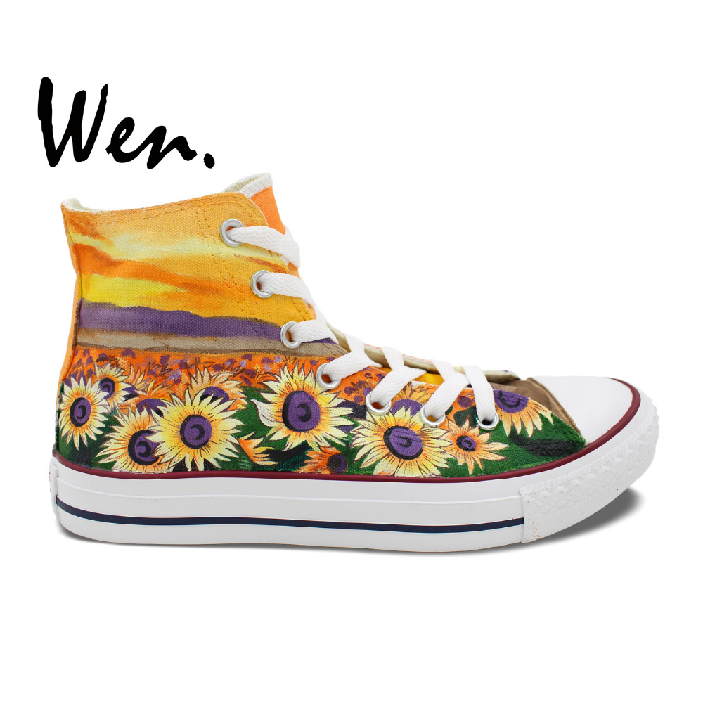 Wen Unisex Hand Painted Shoes Original Custom Design Sunset Sunflower Women Men's High Top Canvas Shoes Sneakers Christmas Gifts wen customed hand painted shoes canvas the beatles high top women men s sneakers black daily trip shoes special christmas gifts