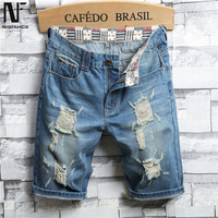 Elegant Hole Jeans Hip Hop Men Streetwear Fitness Summer Shorts Patchwork Cool Jeans Big Size Mens Clothes 2019 High Street Jean
