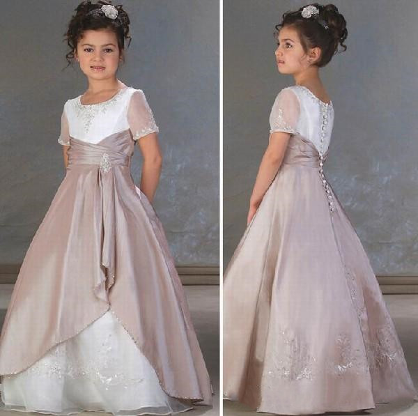 New Arrival High Quality Girls Birthday Dress Lace Beading Satin Ankle Length Flower Girl Dress Kids Pageant Gown Size 2-16YNew Arrival High Quality Girls Birthday Dress Lace Beading Satin Ankle Length Flower Girl Dress Kids Pageant Gown Size 2-16Y