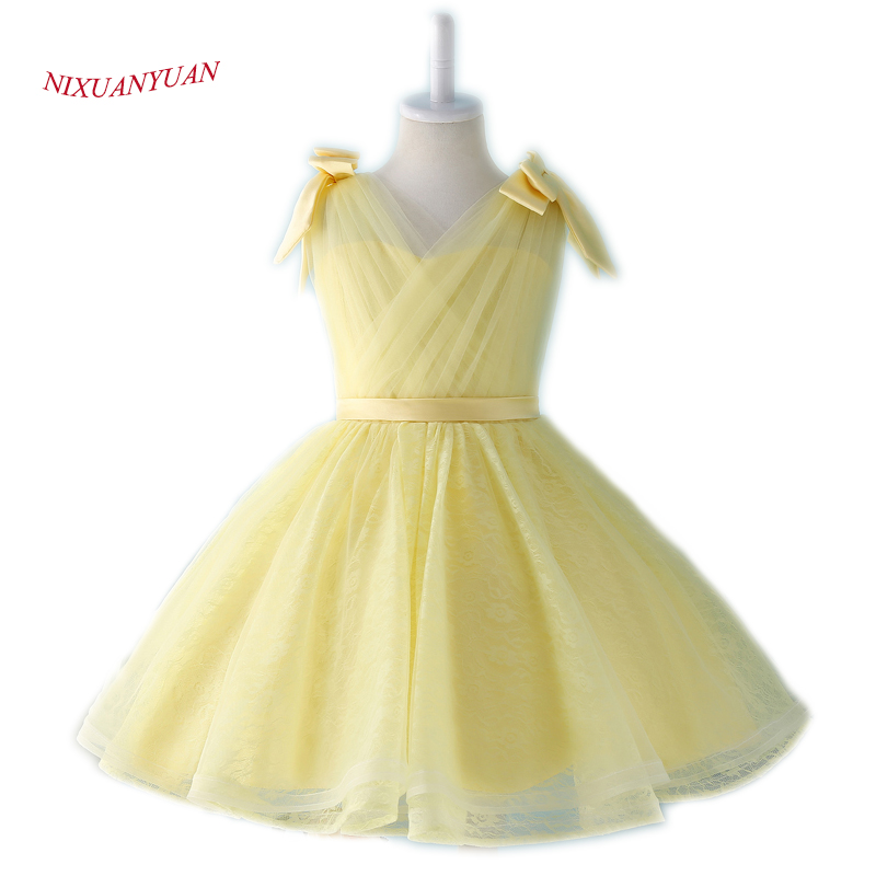 NIXUANYUAN 2017 New Design Yellow Tulle Ball Gown Short V Neck Lace Flower Girl Dresses 2017 Cheap Knee Length Gown With Bow