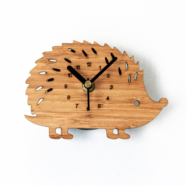 Natural Wood Color Hedgehog Fridge Magnet Clocks Kitchen Clock-In