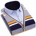 Hot otoño invierno 2016 nueva moda Casual masculina camisas de gran tamaño L-4XL hombres blusa falso de dos, además de terciopelo grueso caliente camisas de los hombres