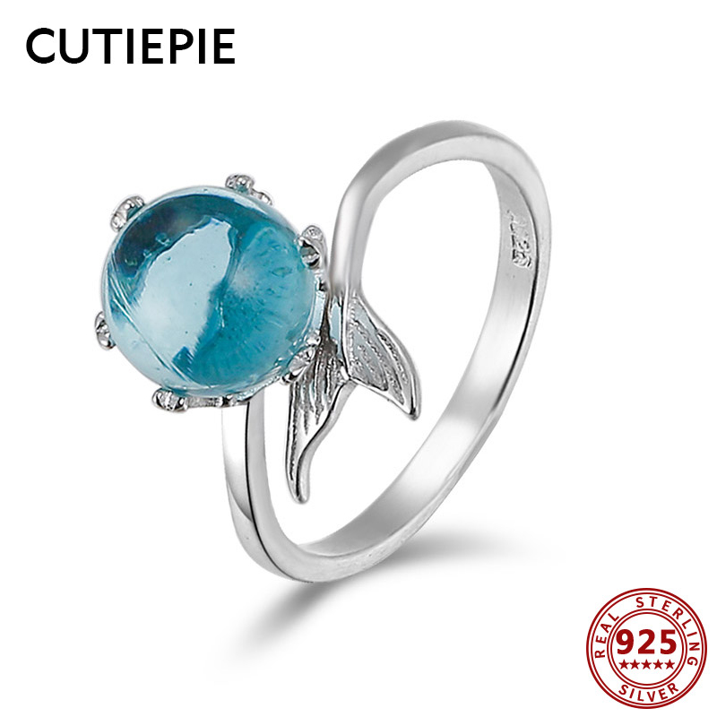Cutiepie Latest 100% Actual 925 Sterling Silver Mermaid Tail Rings For Girls Crystal Adjustable Luxurious Finger Ring Jewellery Presents