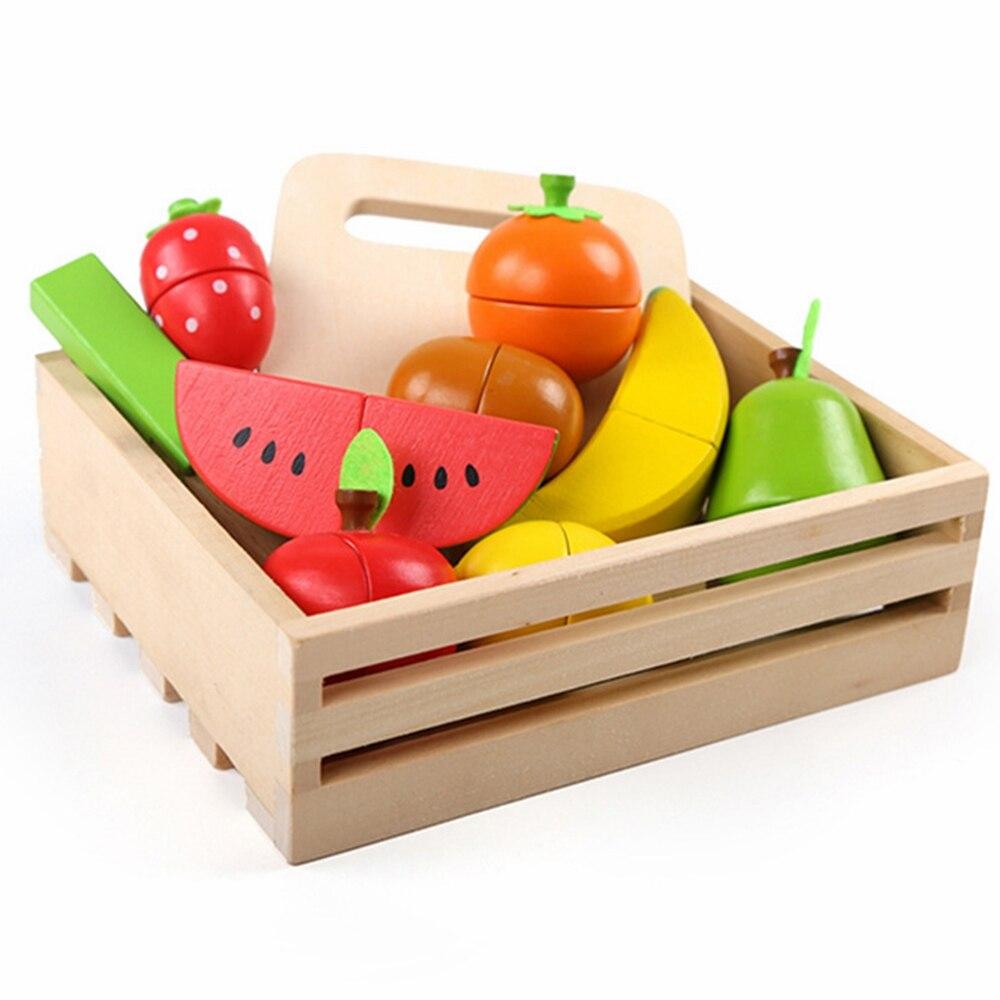 Nouveau 1 pièces ensembles semblant jouet en bois cuisine jouets coupe fruits légume jeu Miniature nourriture enfants en bois bébé début éducation jouet