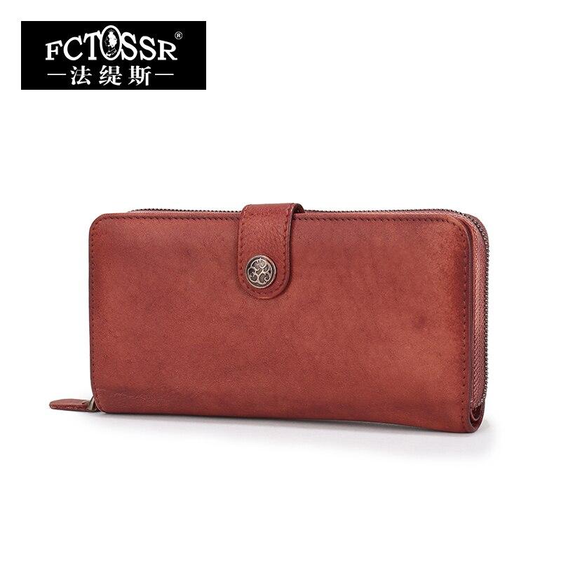 ФОТО FCTOSSR Vintage High Quality Women Clutch Wallet 2017 Genuine Leather Fashion Designer Female Handmade Card Holder Purse
