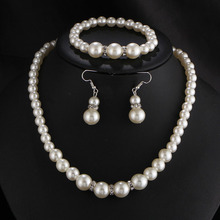 RE Sliver color simulated pearl jewelry sets for women vintage necklace crystal earrings bracelet party wedding accessories J25