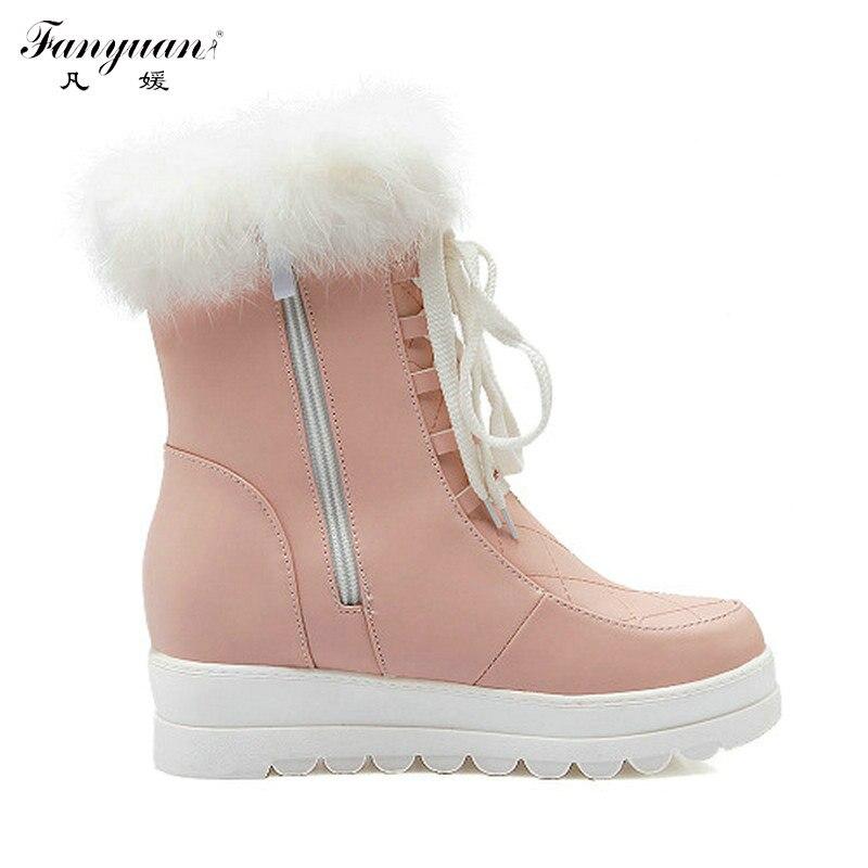 Tobillo De Manera pink Coreano Nieve Invierno Botas White Altura Encaje Mujer Calzado Estilo Nueva La Para Llegada up Aumento Del black 2017 qEWwI4a1