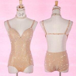 Plein diamant Sexy col en v Jazz danse Costume femmes danse latine Salsa danse combinaison couleur nue fronde dos nu fond vêtements
