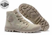 แพลเลเดียมPampa Hiทำงานสบายๆรองเท้าผ้าใบระบายลูกไม้ขึ้นข้อเท้าบู๊ทส์Lace Upผ้าใบผู้ชายรองเท้าลำลอง39 45