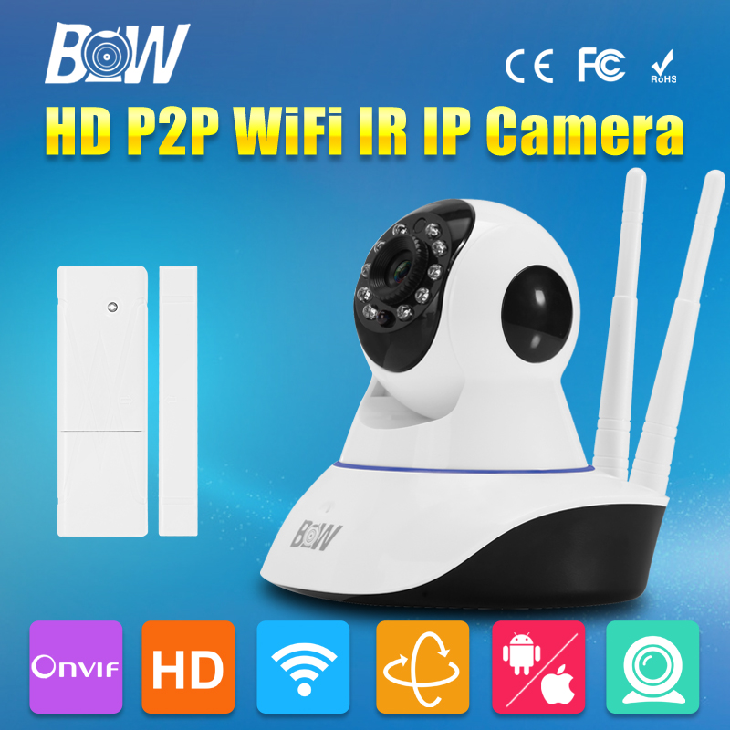 BW 720P HD Wireless  IP Camera WiFi P2P Security Surveillance Door Sensor Alarm IR-Cut Filter Megapixel Lens Onvif Could bw wireless wifi door