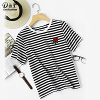 Dotfashion Striped Tee Embroidered Rose Casual T Shirts Women Floral Patch Summer Tops 2017 Fashion O