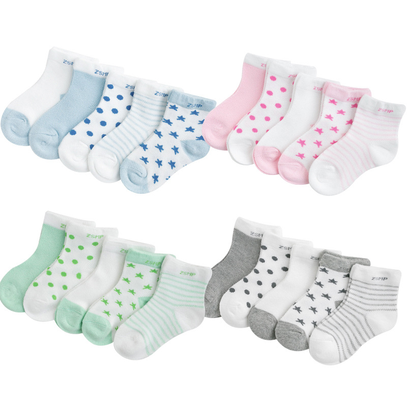 5pairs/Lot 2019 Summer New Kids Cotton Socks. Boy Girl Baby Cartoon Ultra-thin Mesh Socks. For 1-12 Years Children Fashion Soft