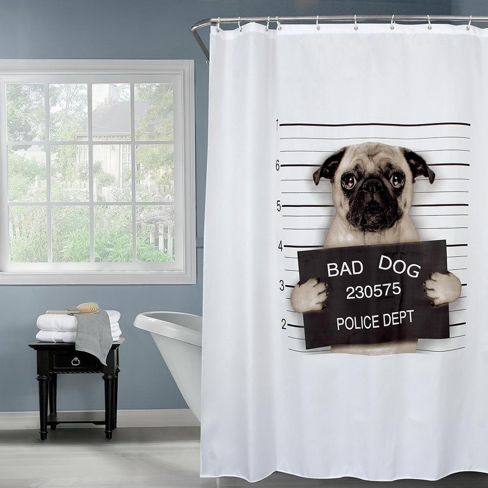 HappyTree Fabric Polyester Bad Dog Waterproof Shower Curtain Thicken Shower Curtain Bathroom Curtain 180x180cm
