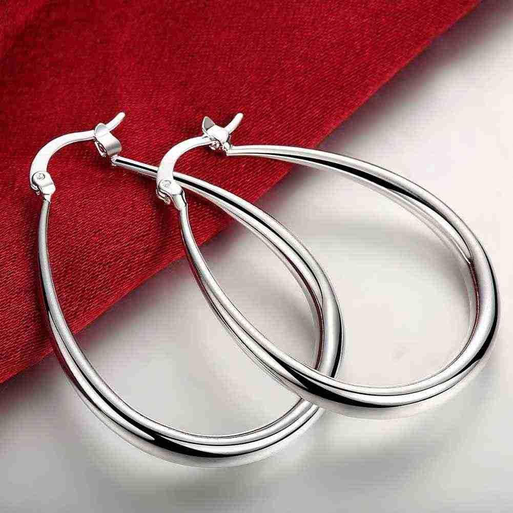 Высококачественные серебряные ювелирные изделия Гладкий Круг твердое серебро U овальные серьги-кольца для женщин лучший подарок оптовая продажа не 925 штамп