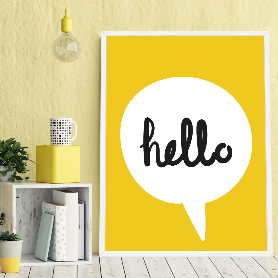 Nordic Decoration Cartoon Letter Yellow Love Posters and Prints ...