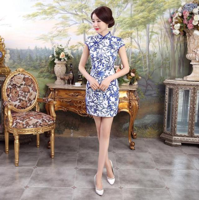 d24bade7d213 Blue And White Flowers Chinese Cheongsam Women's Satin Rayon Qipao Dress  Summer Sexy Mini Slim Dress