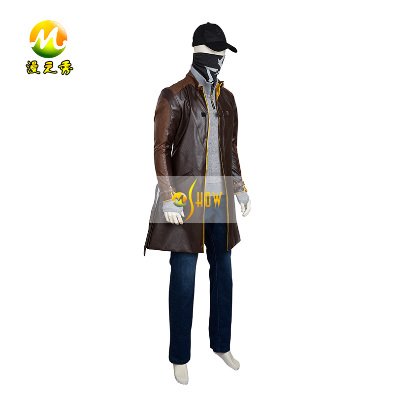 Hot Game Watch Dogs Aiden Pearce Halloween Cosplay Costume for Men Adult Wind Coat  Party Set sexy suit (size can customized)