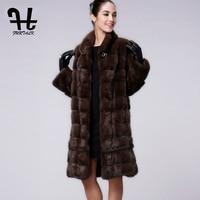 FURTALK Высокое качество Настоящее Женщин Природный Норки Пальто для Женщин Зиму Норковая Шуба Мех Длинный Жакет