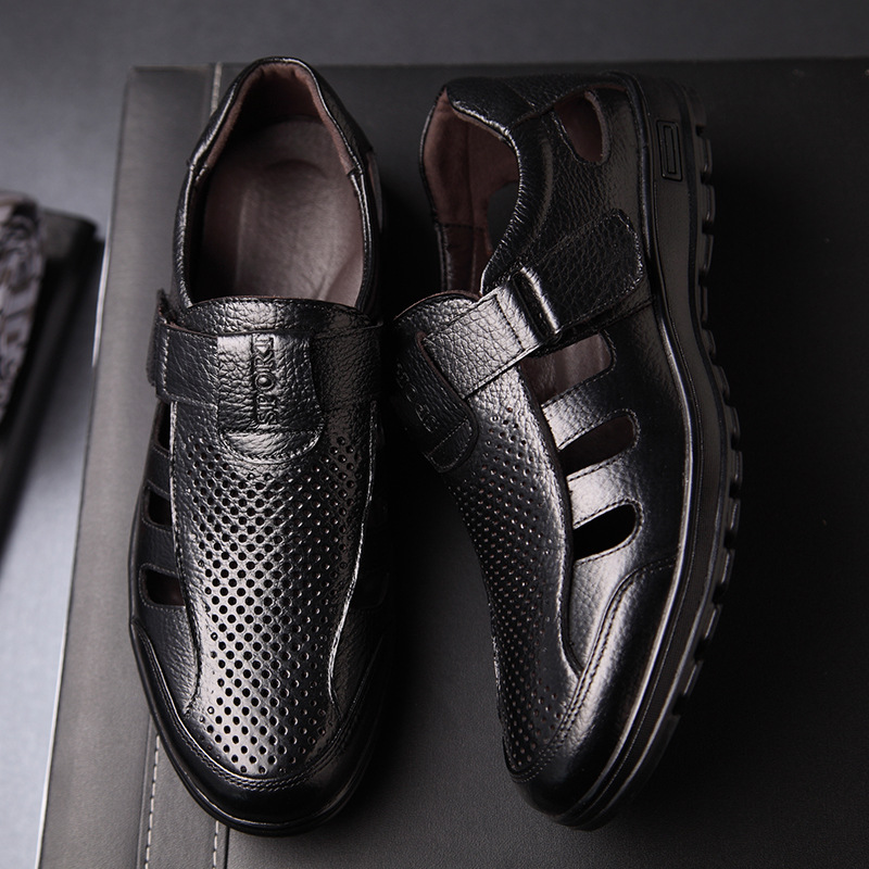 Summer Men 39 s Sandals Shoes Fashion Leather Breathable Hollow Cool Shoes Casual Soft Bottom Male Flat Shoes Outdoor Black Brown 8 in Men 39 s Sandals from Shoes