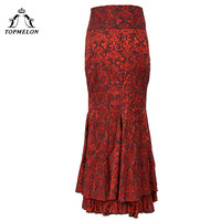 TOPMELON Female Skirt Women's Skirt Maxi Mermaid Steampunk Gothic Skirt Splited Lace Up Floral Shows Club Dance Corset Skirts