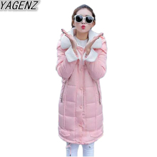 YAGENZ Winter Women Lamb Cotton Long Cotton Jacket 2017 Fashion Casual Lambs Wool Coat Female Large size Hooded Cotton Overcoat