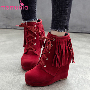 MEMUNIA 2020 new arrival women ankle boots flock tassel lace up wedges platform shoes fashion autumn boots woman big size 50 - discount item 47% OFF Shoes