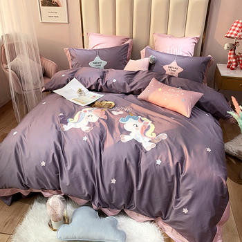 Luxury Egyptian Cotton Cartoon Unicorn Bedding Set Applique Duvet Cover Sets Bed Sheet Pillowcases Queen King Size 4/6/7Pcs