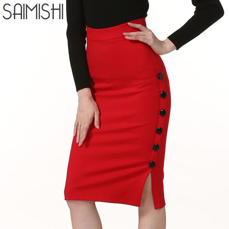 Saimishi Black Red Women Skirt Split All-match Slim Package Hip Skirt Occupation Solid Side Button OL High Waist Skirts