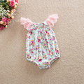 summer Flower Baby Rompers Girl Baby Costumes Set Kids Jumpsuit baby girl Cotton Lace Sleeves clothing set