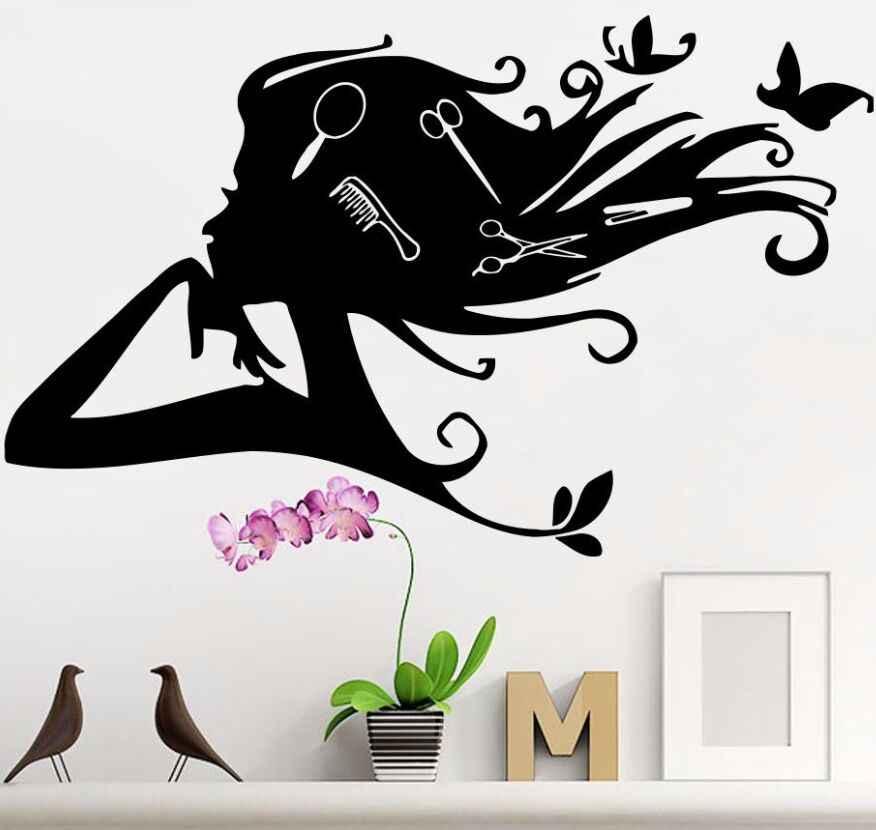Vinilo adhesivo para pared de peluquería y belleza, adhesivo para pared de  hermosa niña, Mural artístico para salón de belleza, adhesivo para ventana,  póster para salón de belleza AY710| | - AliExpress