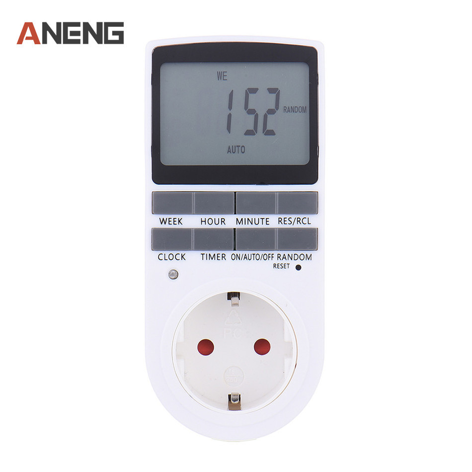 EU Plug in 7 Day 12/24h AC Digital LCD Programmable Timer Switch Time Socket 230V Home Tools
