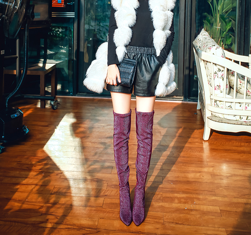 Original Intention New Novelty Women Over Knee Boots Sexy Pointed Toe Thin Heels Boots Black Purple Shoes Woman US Size 3.5-10.5