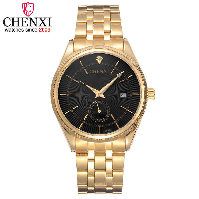 CHENXI Luxury Men Golden Watch Business Quartz Wristwatches for Man Fashion Quartz-watch Men's Stainless Stell Relogio Masculino chenxi men quartz wristwatches luxury brand man golden business fashion watch mens shell dial clock dress relogio masculino