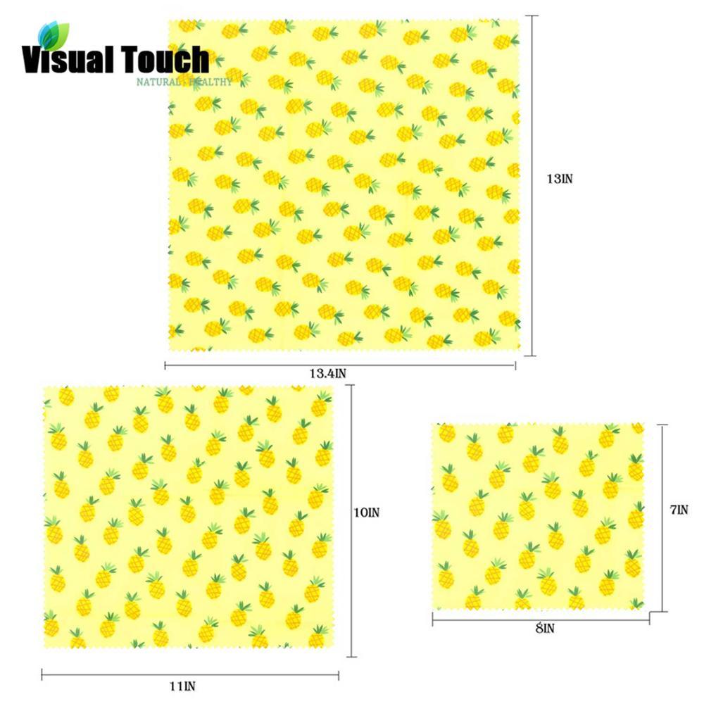 Визуальный сенсорный ладонь органический пчелиный воск ткань сэндвич пакет свежего хранения мешок крышка пищевая пчелиный воск обертывание стрейч уплотнение - Цвет: Pineapple