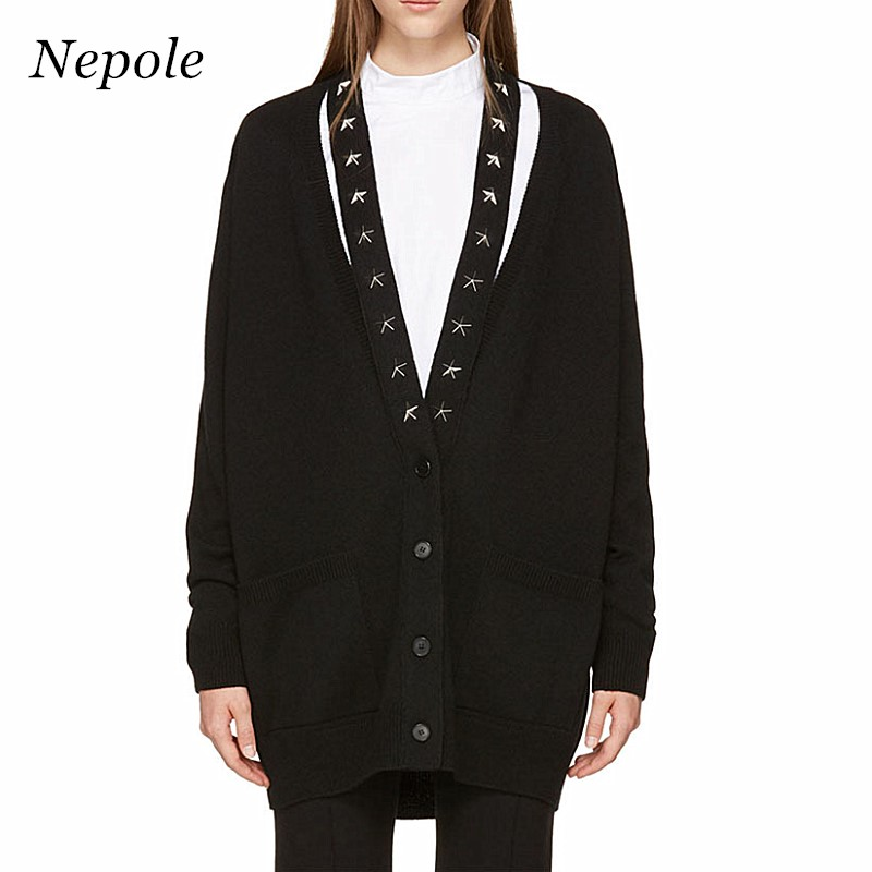 Strong-Willed Neploe Stars V-neck Knitted Women Cardigan Solid Loose Casual Sweater 2019 New Auttum Fashion Pockets Buttons Open Stich 67619 Sweaters Cardigans