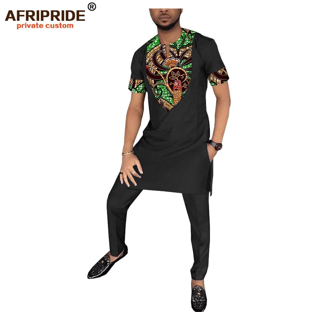 2019 الربيع الأفريقي طباعة سراويل تقليدية مجموعة للرجال AFRIPRIDE قصيرة الأكمام طويلة أعلى + كامل طول السراويل الرجال القطن مجموعة A1816009-في مجموعات للرجال من ملابس الرجال على  مجموعة 3